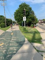 A Bike Path And Sign In Madison, Wisconsin